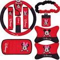 10 unids/set Historieta de Mickey Minnie Mouse Cubierta de Asiento de Coche Del Gatito Accesorios Interiores de Felpa cubierta Del Volante Universal Conjunto