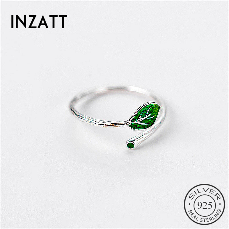 INZATT Real 925 Sterling Silver Green Enamel Leaf Vintage Adjustable Ring Elegant Fine Jewelry For Women Party Accessories Gift