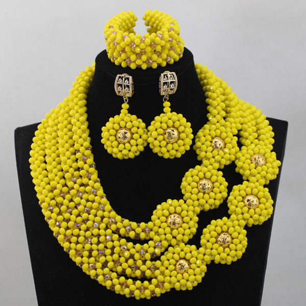 Nigerian Party Women Indian Bridal Necklace Sets Yellow Flowers Mix Gold Balls Crystal Beads Jewelry Set Free Shipping ALJ1006Nigerian Party Women Indian Bridal Necklace Sets Yellow Flowers Mix Gold Balls Crystal Beads Jewelry Set Free Shipping ALJ1006
