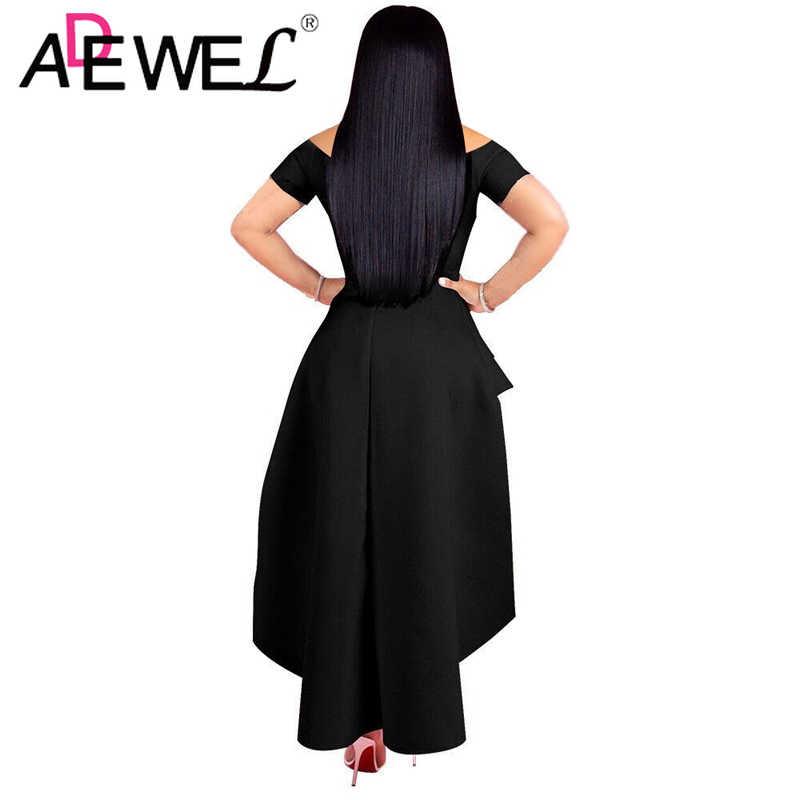 ADEWEL אופנה סקסית כבוי כתף סטרפלס Midi המפלגה שמלת נשים אלגנטית Bodycon מועדון שמלה קצר שרוול ערב שמלות שמלות