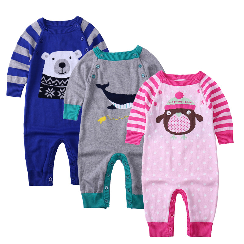 baby clothes New 2016 autumn winter baby rompers kids cotton Knitting jumpsuits suit newborn baby boy and girls overalls new 2016 autumn winter kids jumpsuits newborn baby clothes infant hooded cotton rompers baby boys striped monkey coveralls