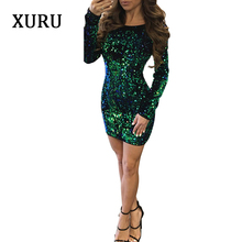 XURU 2018 autumn and winter fashion O-neck womens dress Slim sequins halter sexy nightclub