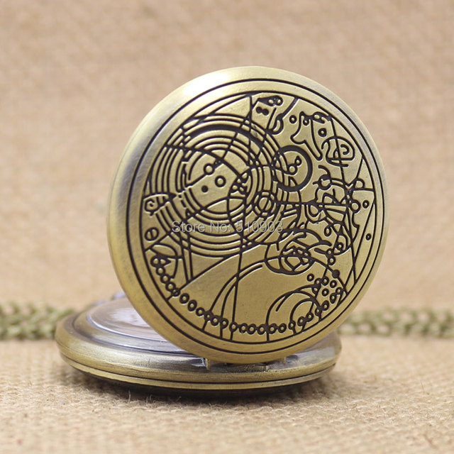 Doctor Who Pocket Watches Beautiful Compass Pattern Vintage Bronze Quartz Pocket