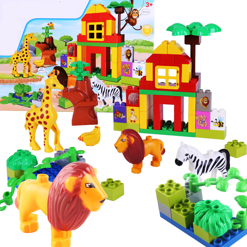 Kid's Home Animal Toys Large Particles Happy Farm Animals Paradise Model Building Blocks Large Size DIY Brick Toy For Girls Boys музыкальные игрушки potex синтезатор animal farm 8 клавиш 686b