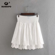 ROHOPO EU Size Women Ruffled Flared Cotton Chic Skirt Embroidery Floral Ruffles Pleated Hollow Ladies Mini Bottom #CW9265