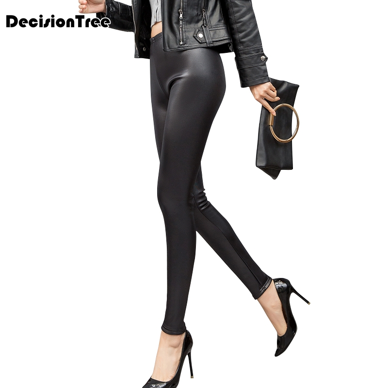 2019 new white women pu leather   pants     capris     pants   trousers women high waist black stretch pencil   pants   pantalon femme