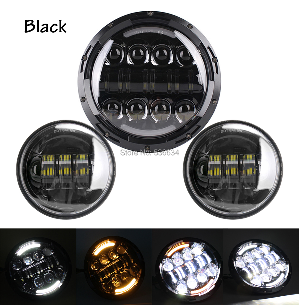 7Inch LED Projector Daymaker Headlight Matching Black 4.5Inch LED Passing Lamps Fog Light For Yamaha V star 650 Classic