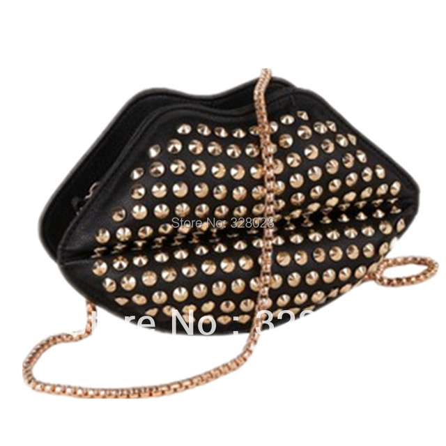 dc17aacc3c 2015 fashion women s personality pu leather handbags sexy mouth lips bags  rivet decoration bolsas women messenger