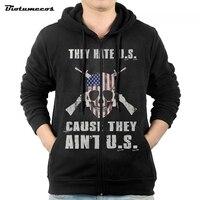 U S Letter Print Men Hoodies Jacket Brand Clothing Fashion Zip Hoodie Man Casual Slim Hoody