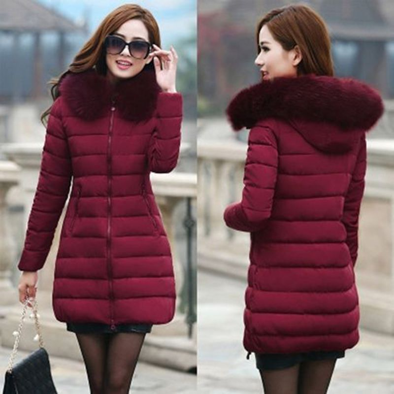 ФОТО 2016newWomens Winter Coat Jacket Down Padded Fur Collar Warm Long Hooded Outwear