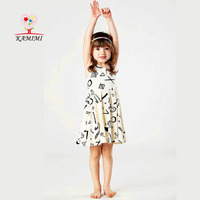 KAMIMI 2017 Baby Girls Dress Geometric Pattern Kids Girls Summer Dress for 2-6 Years 100% Cotton Children Girls Dress XYM451