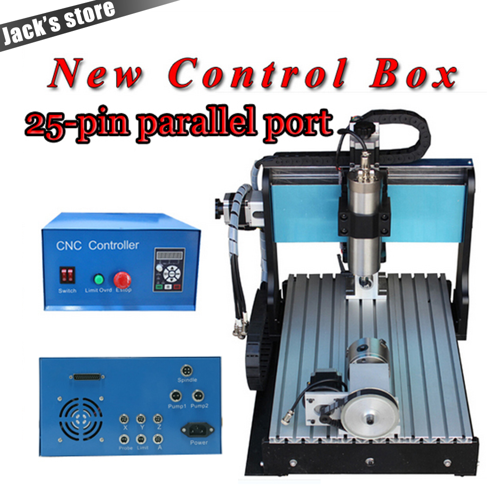 25-pin parallel port! 3040Z-S++ (4-axis), CNC 3040 800WSpindle+1.5kw VFD CNC Router water-cooling+4axis Metal engraving machine jft good price 4 axis 600w metal engraving machine with parallel port micro drilling machine 3040