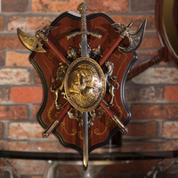 Ancient Roman Sparta Shield Sword Wall Decor Antique Shield with Armor Medieval Axe Lion Ornament Crafts KTV Bar Wall Hanging