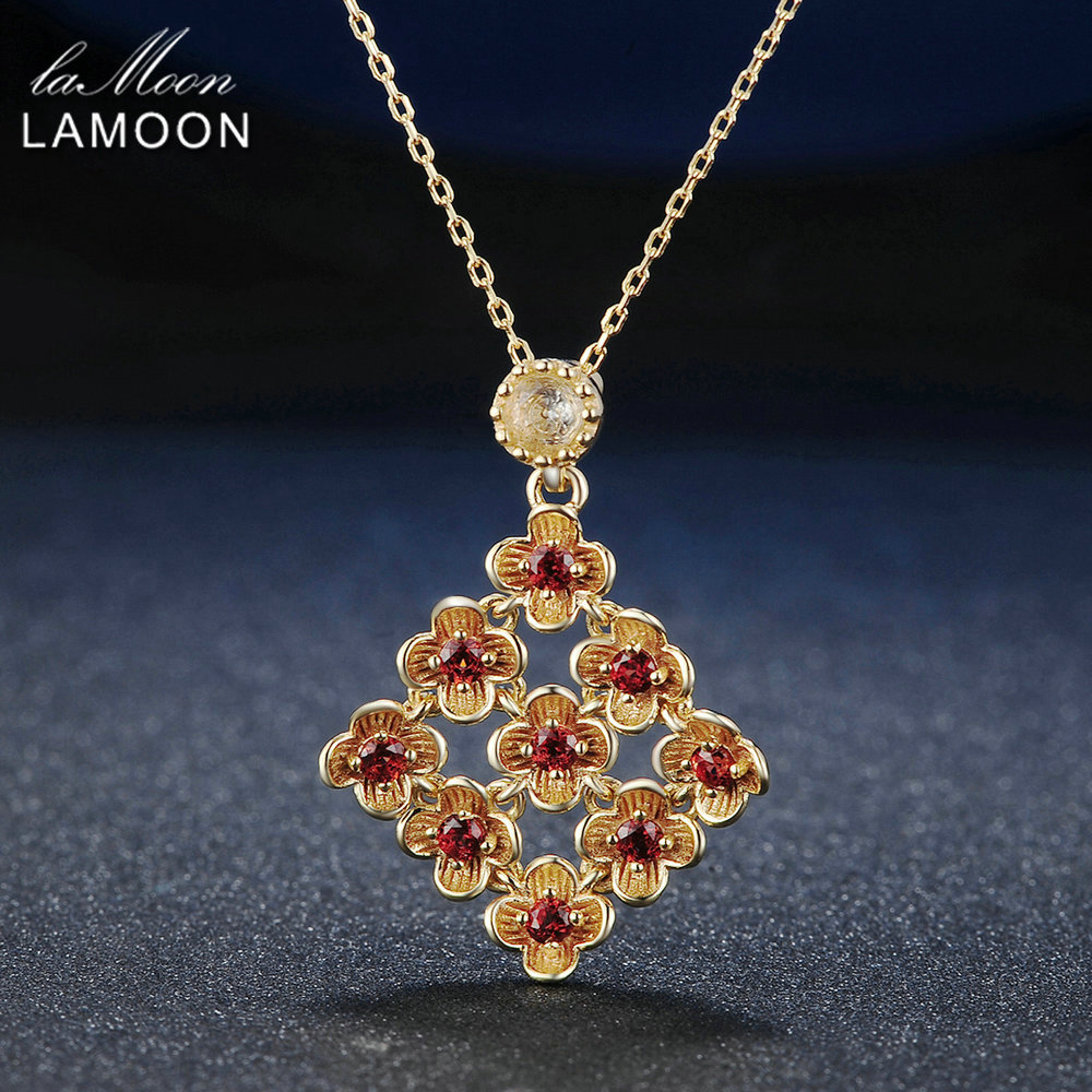 LAMOON 925 Sterling Silver Jewelry Red Garnet Flower Chain Pendant Necklace For Women Party Fine Jewelry Collana Donna NI029LAMOON 925 Sterling Silver Jewelry Red Garnet Flower Chain Pendant Necklace For Women Party Fine Jewelry Collana Donna NI029