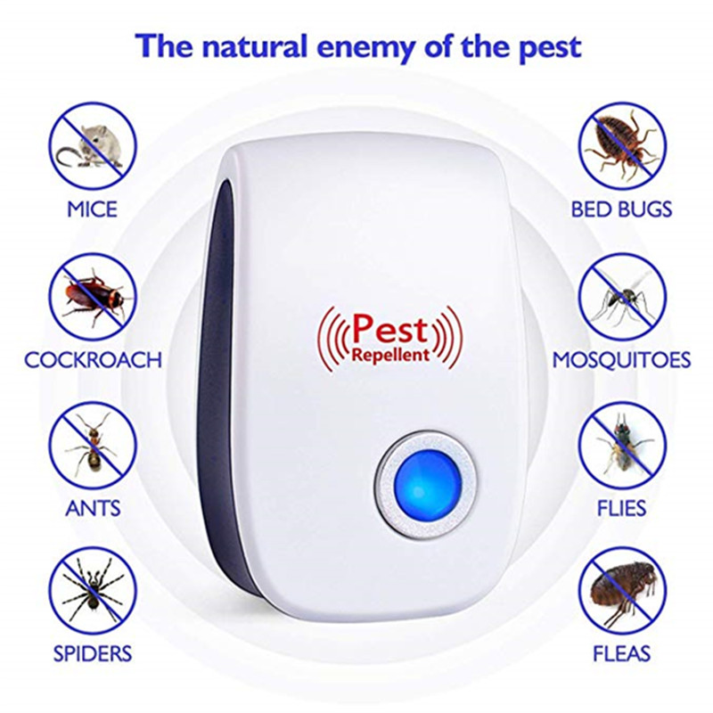 2pcs Ultrasonic Pest Repeller Reject Electronic Repellent Killer Household Anti Mosquito Insect Repelent Rejector USA EU Plug