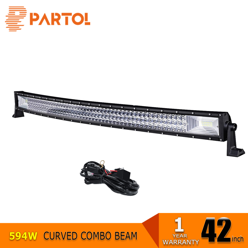 Partol 42 inch Curved 3-Row 594W LED Light Bar 12V 24V Offroad Combo Beams Tri-Row LED Work Light Truck SUV ATV 4WD 4x4 Led Bar partol 240w 22 tri row led work light bar offroad led bar spot flood combo beam truck suv atv 4x4 4wd driving lamp 12v 24v