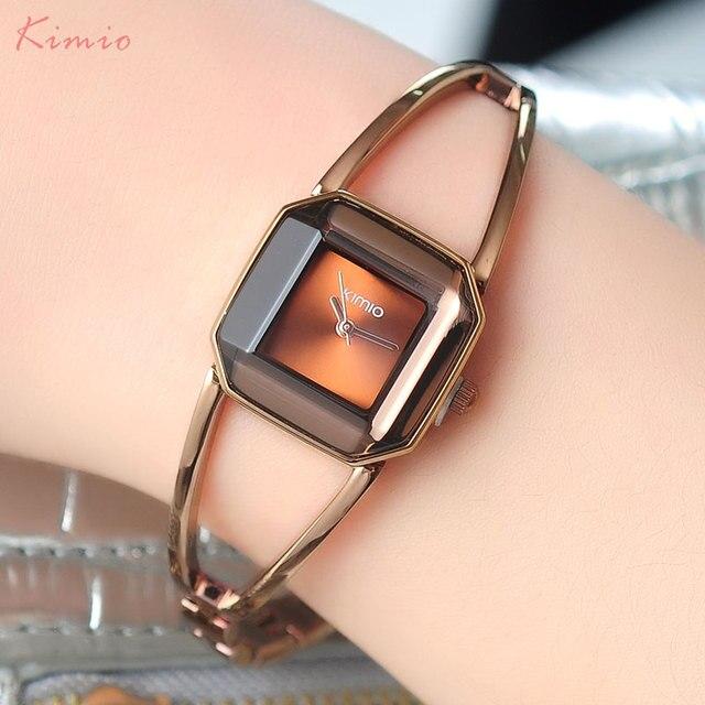 Модные женские кварцевые часы KIMIO Марка браслет часы Роскошные Леди часы 2017 часы подарка платье наручные часы квадратный корпус 463