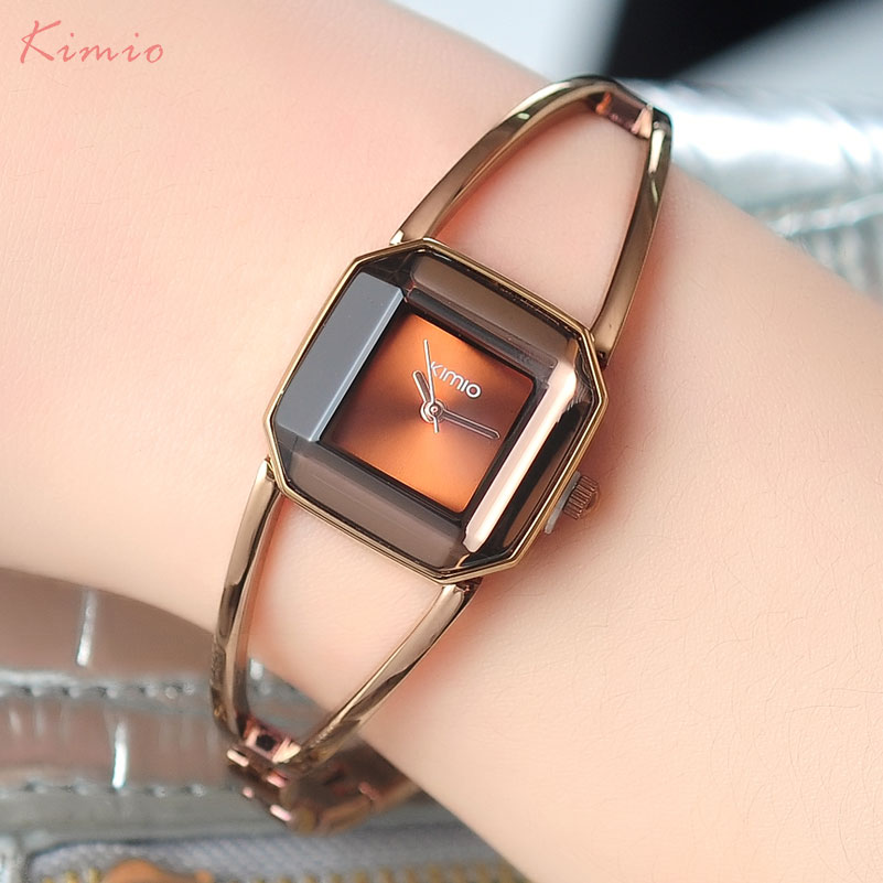 fashion women quartz watch KIMIO brand bracelet watches luxury lady watches 2017 gift clock dress wristwatches square case 463 super speed v6 v0153 by check dial quartz wrist watch for men black yellow while 1 x lr626