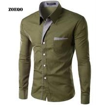 ZOEQO бренд Мужская классическая рубашка для мужчин s рубашка в полоску Slim Fit Chemise Homme с длинным рукавом Heren Hemden Slim Camisa Masculina