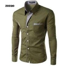 161c1fac35 ZOEQO nueva marca camisas de vestir hombre Camisa de rayas Slim Fit Chemise  Homme manga larga