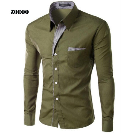 ZOEQO NEW Brand Dress Shirts Mens Striped Shirt Slim Fit Chemise Homme Long sleeve Men Shirt Heren Hemden Slim Camisa Masculina