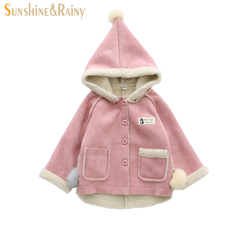 Girls Winter Coat New Girls Leather Jacket Childrens Coats Fur Jackets Outwear Lamb Velvet Kids Hooded Jacket For Baby Snowsuit