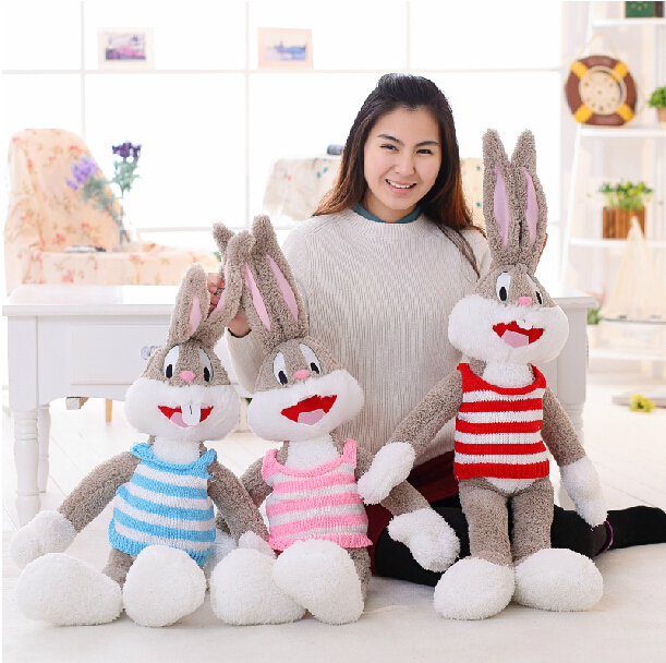 1pc 100cm Cartoon Selling Item Plush Bugs Bunny Stuffed Animal Kawaii Doll For Kids Soft Pillow  For Girls Funning Toy