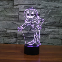 8Pcs/Lot Color changeable touch sensor control Pumpkin Man Acrylic 3D LED Night Light USB Puppet table Lamps