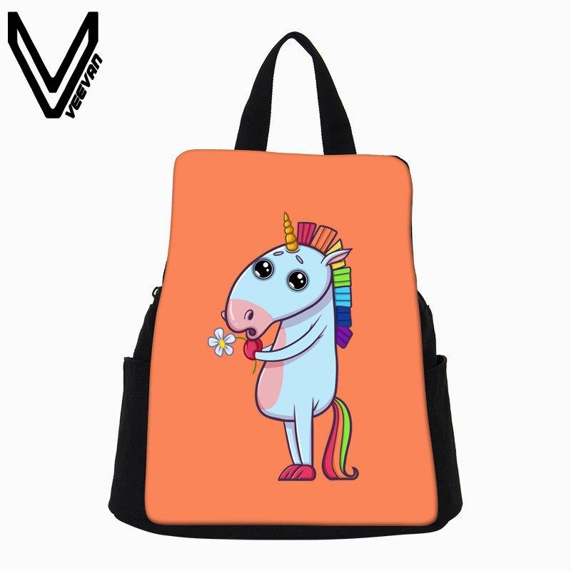 Veevanv 2018 Малый Для женщин рюкзак Повседневное мультфильм холст рюкзак Новый Единорог печати сумка Школа BookBag Дорожные сумки