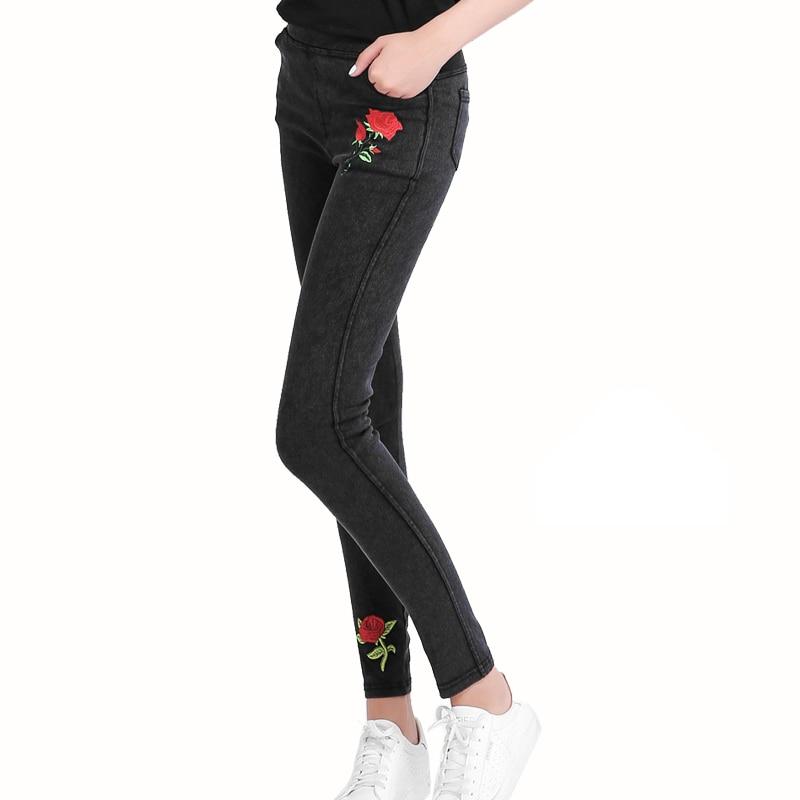 Nueva Plus Size Stretch Jeans bordados para las mujeres flor ...