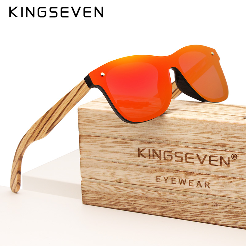 KINGSEVEN 2019 Handmade Brand Design Zebra Polarized Sunglasses Men/Women Mirror Lens Original Wood Eyewear Oculos De Sol