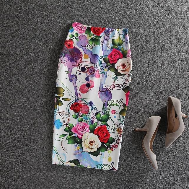 d583b8036b4 Women 2017 F W Fashion Skirt High Waist Colorful Flower Cute Skirt Pencil  Mid Skirt Bodycon OL Skirt Plus Size Free Shipping