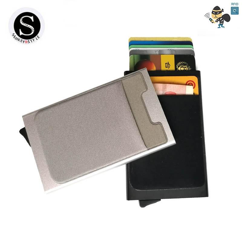 Алюминий бумажник с карманом ID Card Holder RFID Блокировка мини-тонкий металлический кошелек автоматические всплывающие кредитной карты случай п... ...