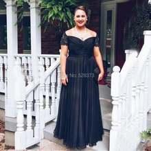 4303b25bbed2 YNQNFS MD76 Elegant Mother of the Bride Dresses Plus Size Off Shoulder  Chiffon Black Party Outfits