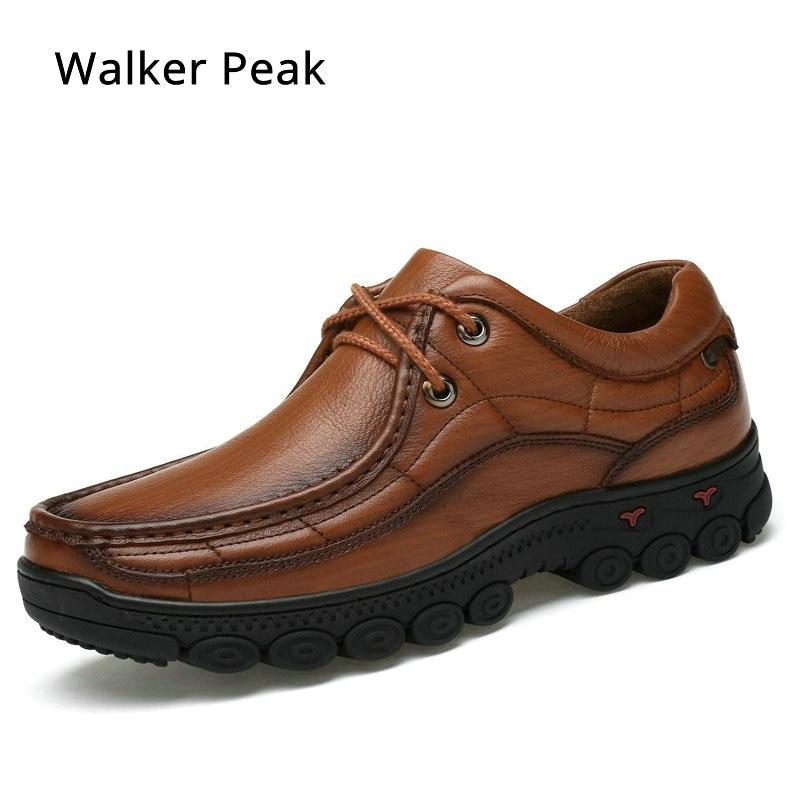 Pria Sepatu Kerja Inggris 100% Kulit Asli Bisnis sepatu Kasual paten hitam Berjalan sepatu untuk Pria Sepatu flat laki-laki Walkerpeak
