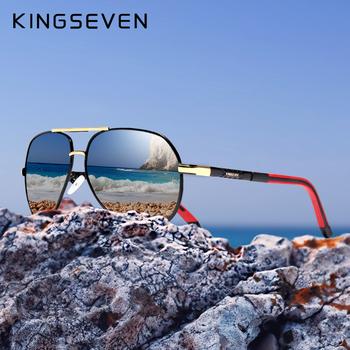 KINGSEVEN aluminium magnezu męskie okulary spolaryzowane męskie okulary z powłoką lustrzaną óculos męskie akcesoria do okularów dla mężczyzn K725 tanie i dobre opinie Pilot Lustro Antyrefleksyjną UV400 Dla dorosłych Z poliwęglanu 65mm 52mm
