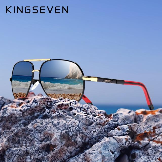 KINGSEVEN di Alluminio E Magnesio Occhiali Da Sole Polarizzati Degli Uomini del Rivestimento degli uomini Vetri A Specchio oculos Maschio Occhiali Accessori Per Gli Uomini K725