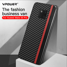 For Huawei Mate 20 Pro Leather Case Original Vpower Carbon Fiber Protection Phone Back Cover for PU