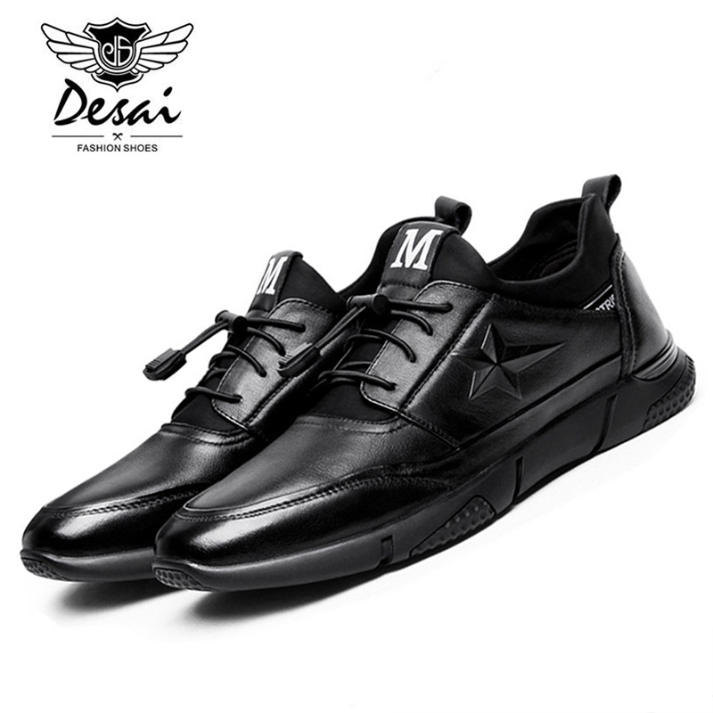 DESAI Brand 2017 Autumn New Arrival Man Genuine Leather Casual Shoes Comfortable Breathable Solid Black Shoe Man Casual ZY17805 bakkotie 2017 new autumn baby boy casual shoes khaki genuine leather black kid girl brand flat shoes soft sole breathable child