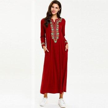 b6ed2e2079 Nuevo 2018 invierno Abaya musulmán vestido árabe Abayas impresa terciopelo  Pakistani Dubai islámica impresión caliente Vestidos azul marino vestido