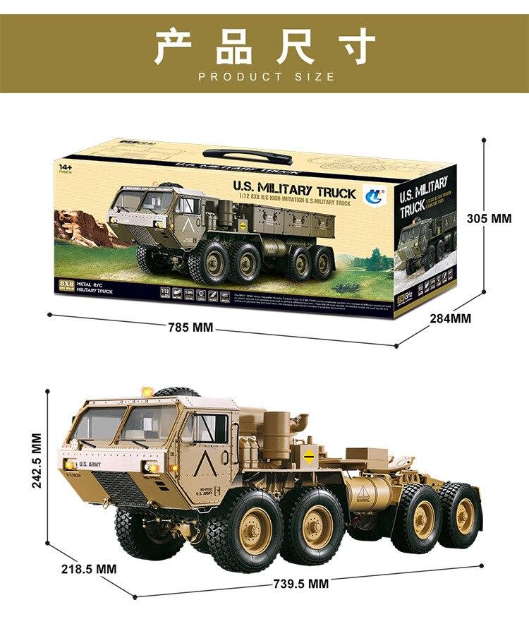 Charge 10Kg 1:12 Simulation militaire carte modèle 8 roues motrices militaire carte remorquage modèle RC télécommande véhicule jouets pour adolescents - 3