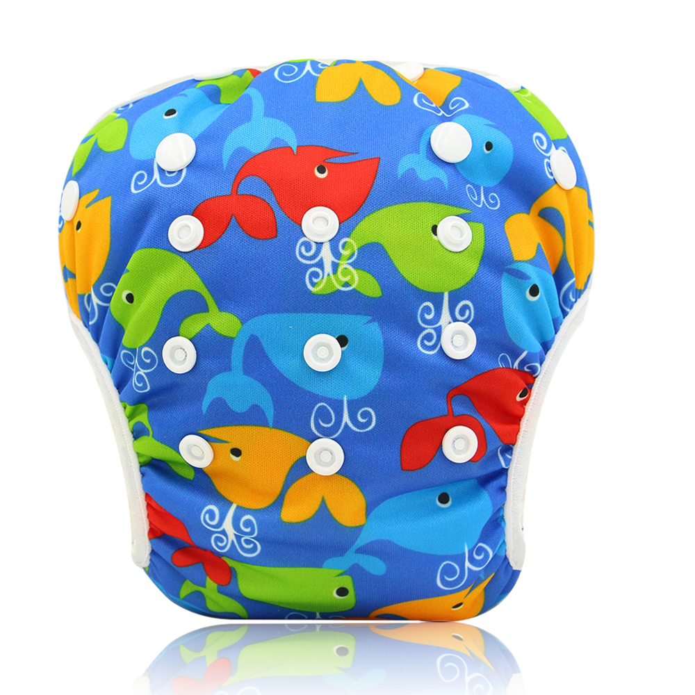 Ohbabyka Baby Swim Diaper Training Pants Washable Reusable Diapers Cover Animal Pattern Infant Baby Swimming Nappy Changing
