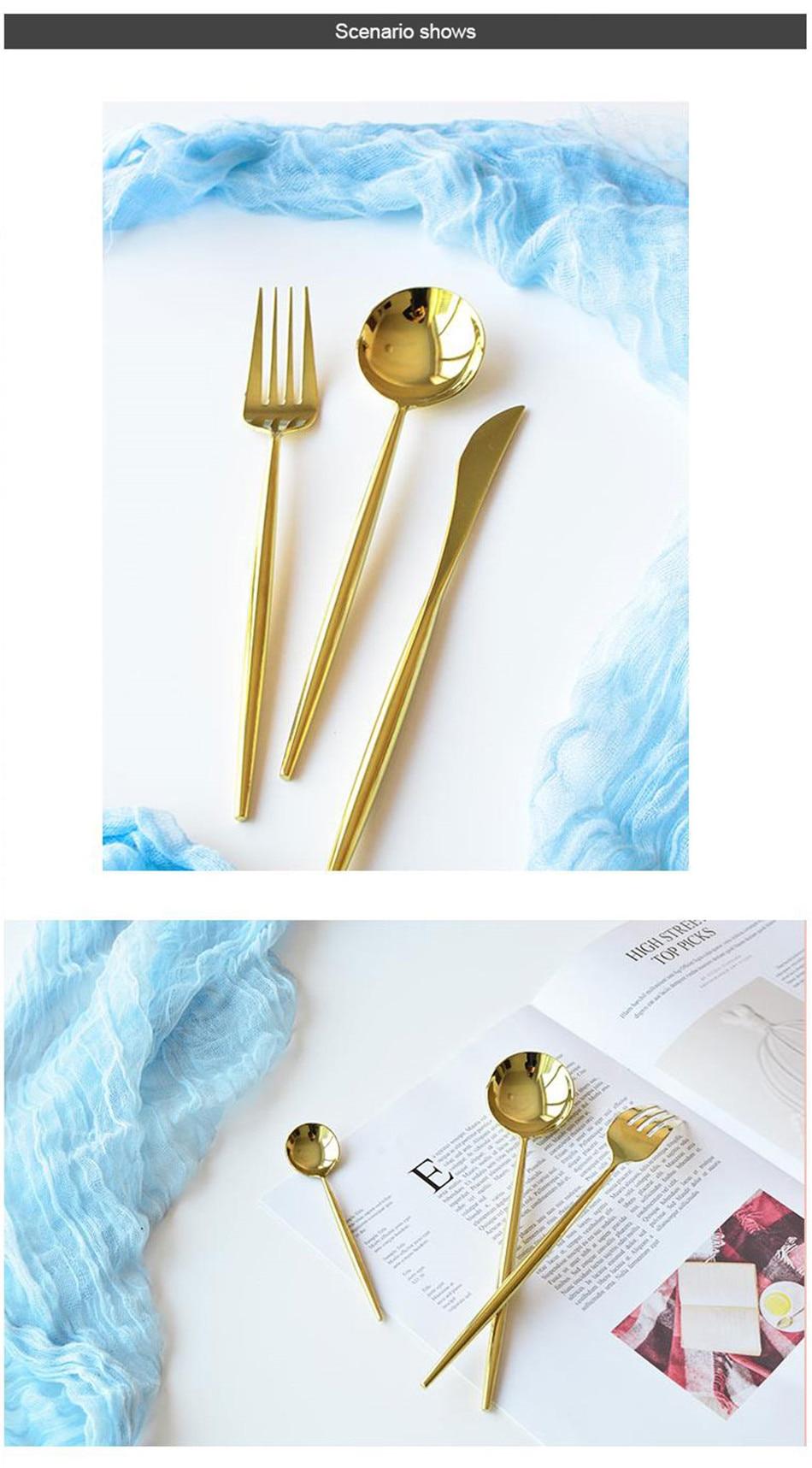 304 Stainless Steel Tableware Set Mirror Shining Rose Gold European Western Food Dinnerware Sets knife Forks Black Cutleries 4pc (2)