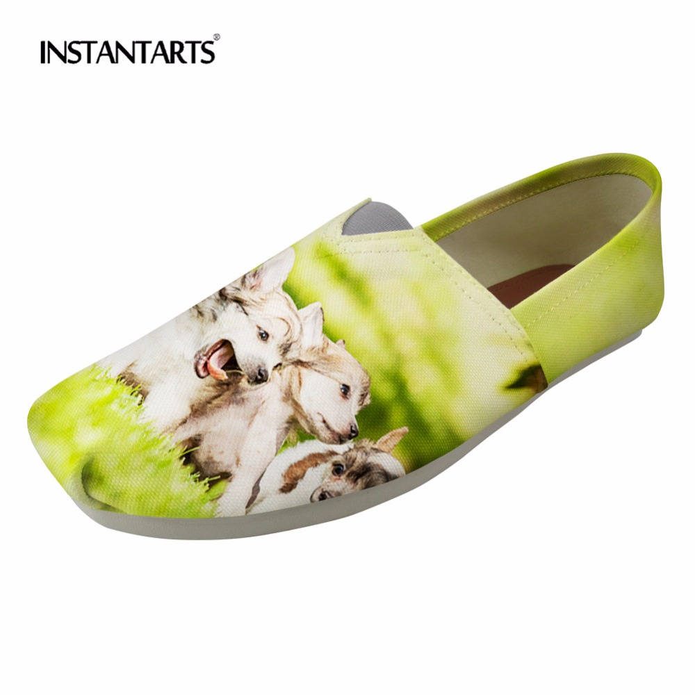 INSTANTARTS Norwegian Buhund Women Summer Flat Shoes Cute Animal Dog Design 2018 Fashion Loafers Canvas Shoes Womans Lazy Flats