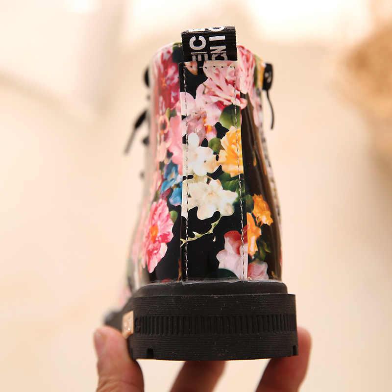 Elegant Charming ดอกไม้การพิมพ์ PU หนังเด็กน่ารักสาวหิมะ Boot เด็กมาร์ตินข้อเท้ารองเท้า Lace up 2018 ฤดูใบไม้ร่วงรองเท้า