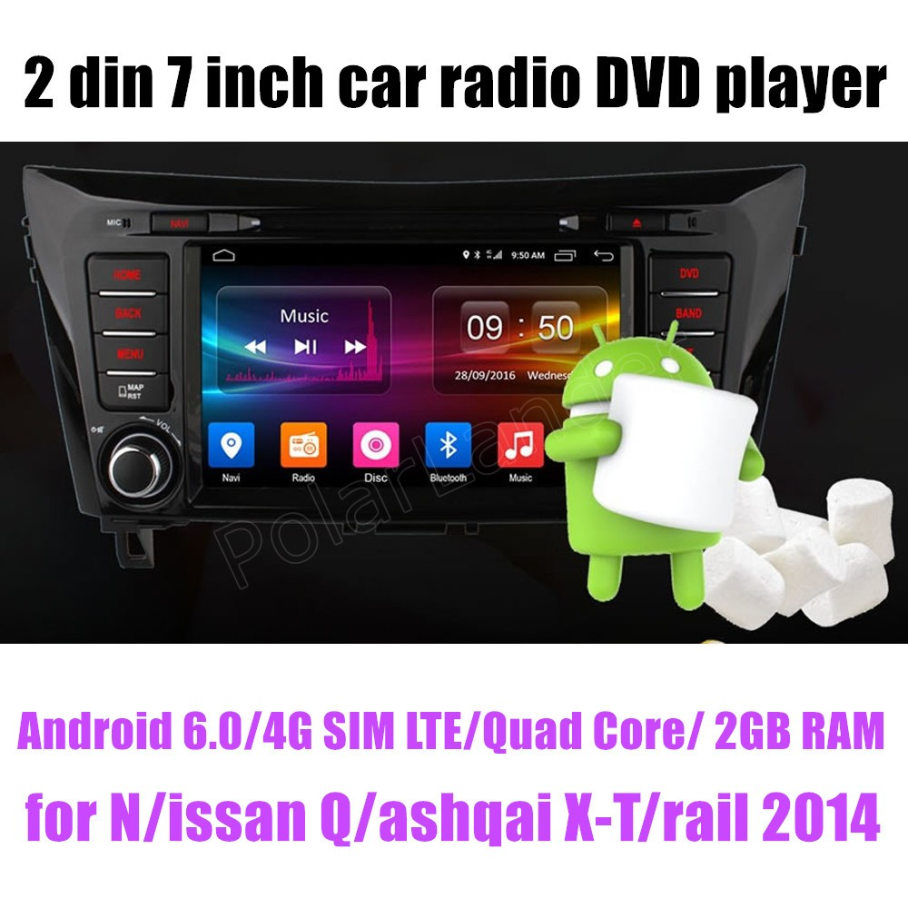 7 Inch 2 din HD Android 6.0 Car DVD Player for Nissan Qashqai X Trail 2014 GPS Navigate radio stereo WIFI