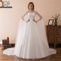 Sheer Neck Long Sleeves Applique Lace Ball Gowns Wedding Dress With Wraps Reals Bridal Gowns Vestidos