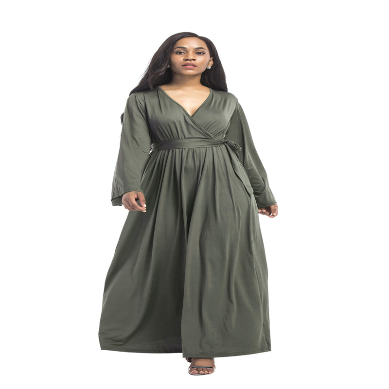 New autumn North America popular fashion personality large size loose belt solid color long sleeved sexy fat MM ladies dress in Dresses from Women 39 s Clothing