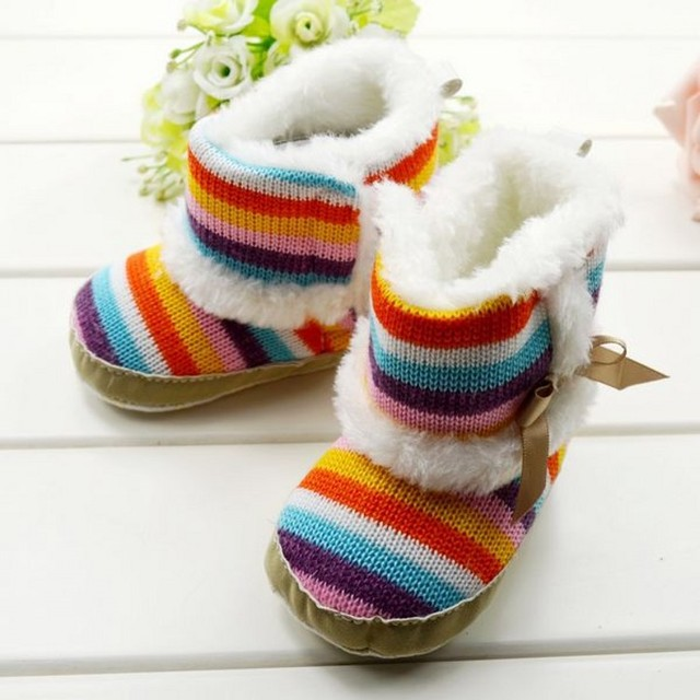 51fe1c4f206d0 New Arrival Rainbow Baby Boots Winter Female Girls Snow Booties Soft Plush  Toddlers Baby Shoes First Walkers 4404