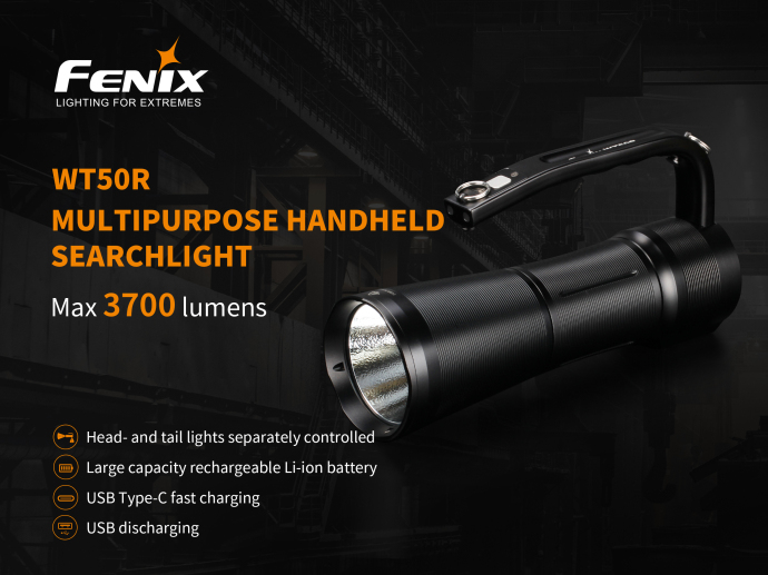 USB Type C Fast Charging USB Discharging Fenix WT50R Multipurpose Handheld Searchlight with 7 2V 5200mAh